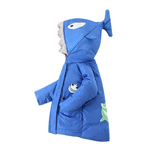 - Long Shark Shape Hooded Down Jacket Winter Outwear Coats for Child Boys Blue 4-5 Years 110 KB1803