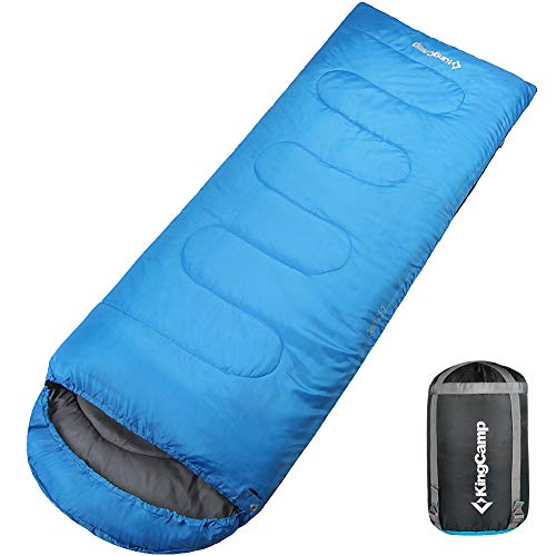 - KingCamp Envelope Sleeping Bag 4 Season Lightweight Comfort with Compression Sack Camping Backpack 8.6F/-13C