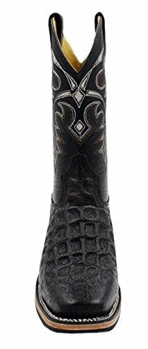 Hommes Bottes De Cowboy En Cuir De Vachette Véritable Crocodile Impression Bottes De Rodéo Noir