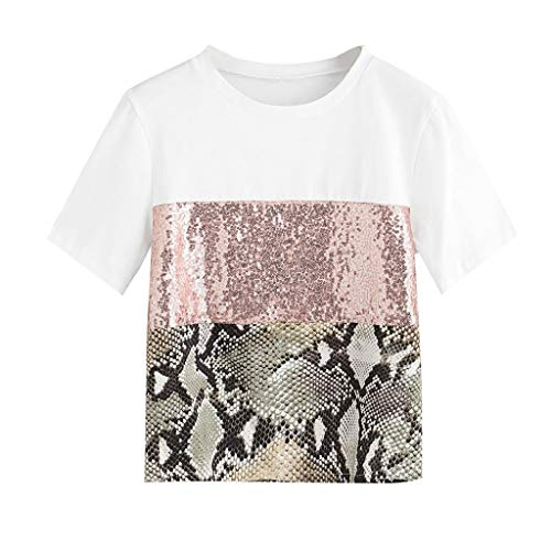TIFENNY Fashion Summer Loose Tee for Womens Pacthwork Leopard Print Sequin Short Sleeve Shirt Casual Blouse Top Pink ()