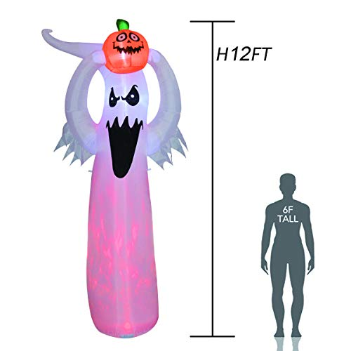 GOOSH 12 Foot Tall Halloween Inflatable Blow Up White Ghost with Hand-held Light for Inflatables Halloween Outdoor Yard Decoration Inflatable Halloween Ghost