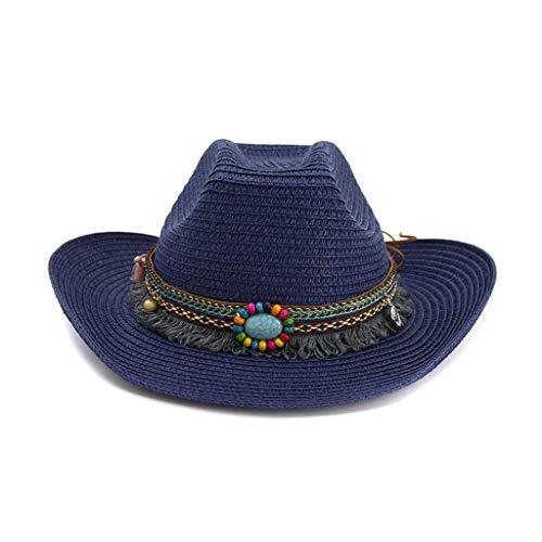 Down Home Fun Raffia Hat - Shmei Men's & Women's Hat Western Style Classic Cattleman Cowboy/Cowgirl Straw Hat Beach Ocean, Cruise, and Outdoor, Summer (Navy)