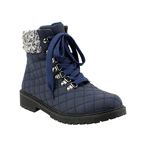 Olivia Miller Sutphin' Navy Lace Up Fabric Trimmed Quilted Boots 10 B(M) US