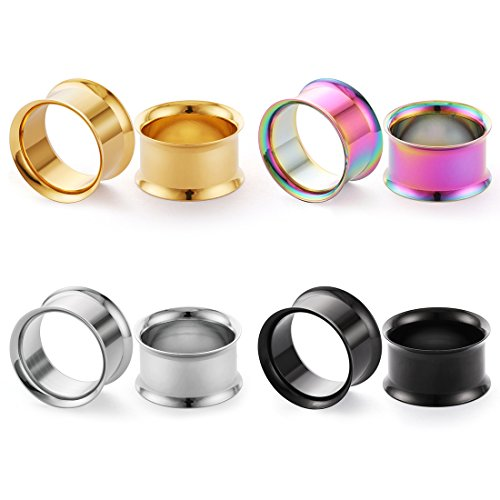 (COTTVOTT 4 Pairs Stainless Steel Double Flared Unscrew Ear Tunnels Plugs 4 Colors Mix (Around 1