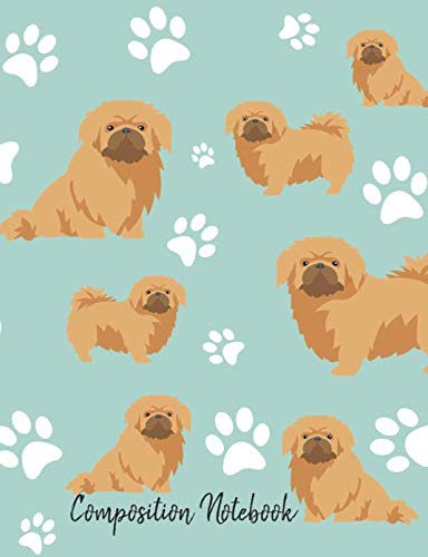 Composition Notebook: Pekingese Paw Prints Cute School Notebook 100 Pages Wide Ruled Paper (Dog Breed Composition Books)