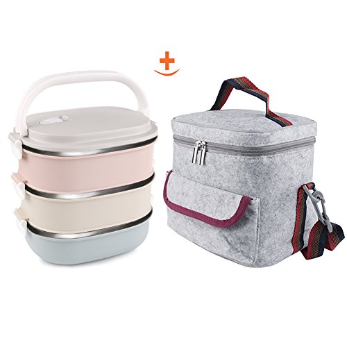 3Layers Lunch Box & Insulated Lunch Bags Set,Leakproof  metal lunch boxes adult , Portable A Office Snack Food lunch containers stackable stainless steel for Girl (Tiffin Set)