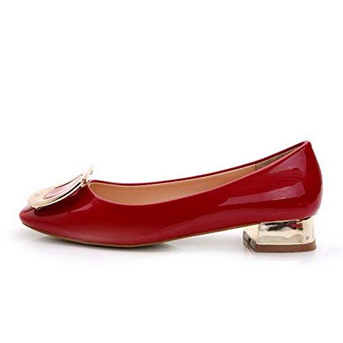 AalarDom Mujer Puntera Cuadrada Mini Tacón Material Suave Sólido De salón Rojo