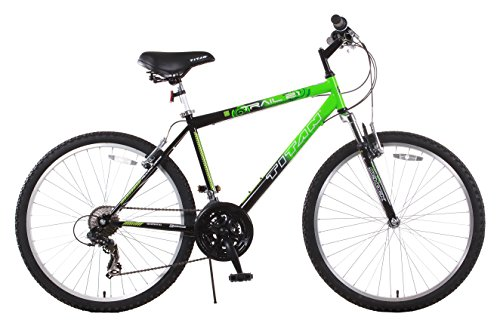 Titan Trail 21-speed Suspension Men's Mountain Bike, 18-Inch Frame, Green and Black For Sale