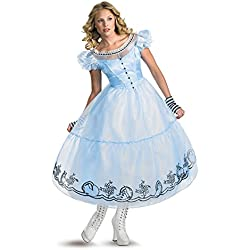 Disguise Women's Alice in Wonderland Deluxe Costume, Blue, Medium (8-10)