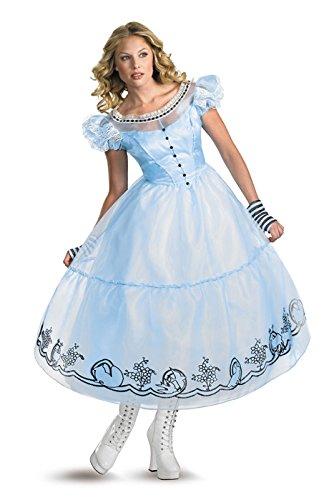 [Disguise Women's Alice in Wonderland Deluxe Costume, Blue, Medium (8-10)] (Alice In Wonderland Costumes For Adults)