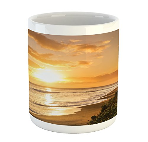 Ambesonne Hawaiian Mug, Warm Tropical Sunset on Sands Kaanapali Beach in Maui Hawaii Traveling, Printed Ceramic Coffee Mug Water Tea Drinks Cup, Orange Green Pink - Beach Theme Coffee