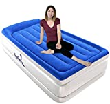 EnerPlex Pillow Top Twin Air Mattress with Built-in Pump Luxury Custom Beam Airbed Twin Size, Raised Double High Elevated Blow Up Mattress Inflatable Twin Size For Home Camping Travel, 2-Year Warranty