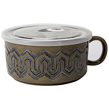 Boston Warehouse 22-Ounce Souper Bowl Sand Maze Stoneware Mug with Lid