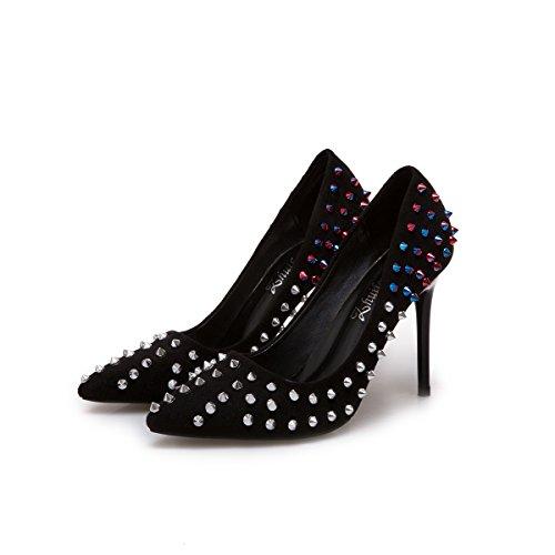 37 Zapatos Light de Moda Rivet mujer Negro Punto Br8tr0