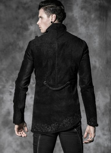 Punk Rave Army Style asymmetrischer Jacket mit Stickerei Gothic Military Y-468