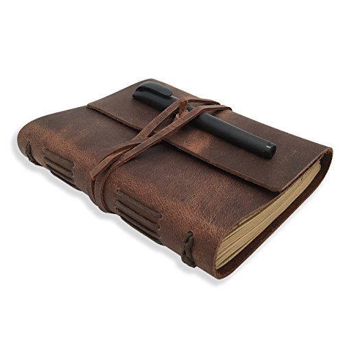 Leather Journal Writing Notebook - Genuine Leather Bound Daily Notepad for Men & Women Lined Paper 240 Kraft Pages, Handmade, Rustic Brown, 5 x 7 in