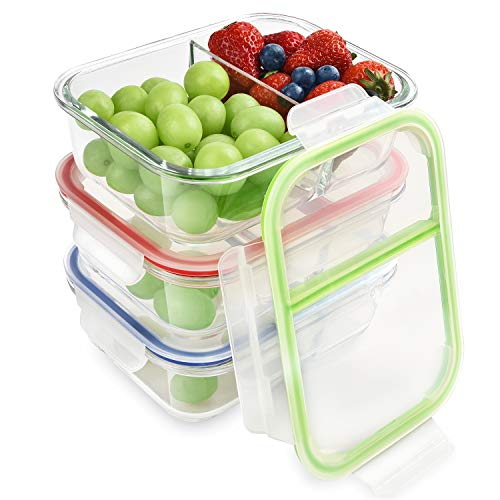 Microwave Lunch Box - RENPHO Glass Meal Prep Containers 2 Compartment,Bento Box Containers Glass Food Storage Containers with Lids,Food Prep Containers Glass Storage Containers with lids Lunch Containers[3-Pack, 36oz]