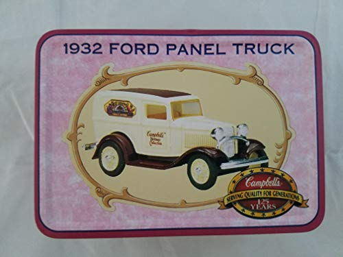 Ford 1932 Panel Truck Campbells Die Cast Metal Rubber Tires 1:43 Presented in Collectible Tin Off-White