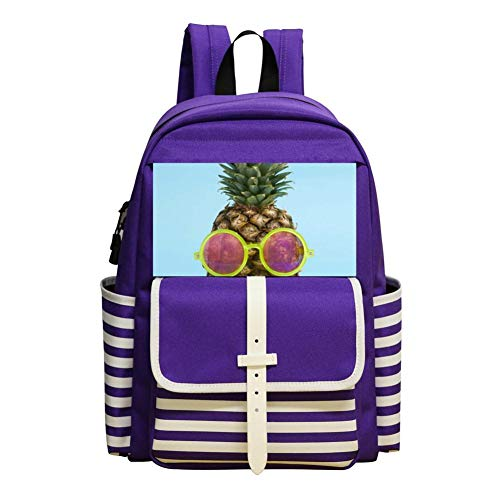 Pineapple Glasses Backpack School Bags Student Book Bag Daypack For -