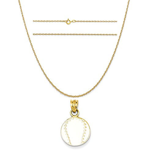 K&C 14k Yellow Gold Enameled Baseball Pendant on a 14K Yellow Gold Carded Rope Chain Necklace, 18