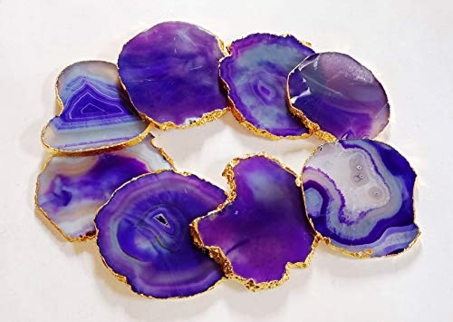 - Natural Sliced Purple Dyed Agate Coaster with Rubber Bumper Set of 8 Gold Edge 3-4