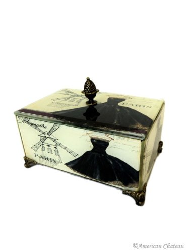 Fashionista Glass On Wood Footed Paris Decor Moulin Rouge Couture Jewelry Box