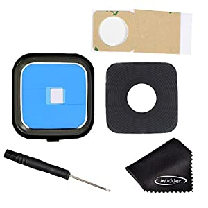 Mudder Rear Camera Lens Cover Ring Replacement including Adhesive/ Screwdriver/ Cleaning Cloth for Samsung Galaxy Note 4 N910 N910A, N910V (Black)