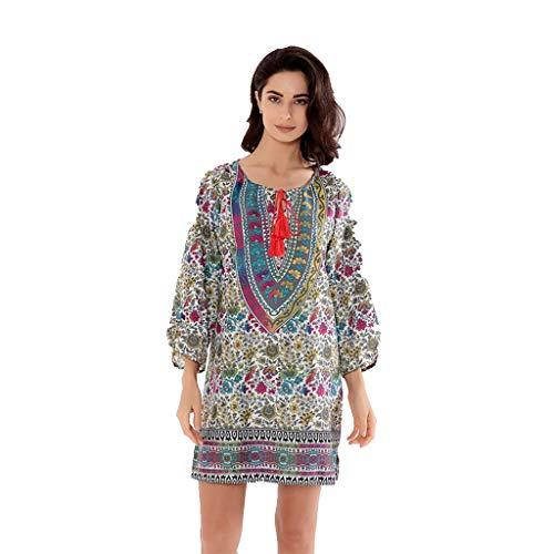 - Women Three Quarter Sleeve Boho Vintage Printed Ethnic Style Loose Beach Straight Mini Dresses (Yellow, XL)
