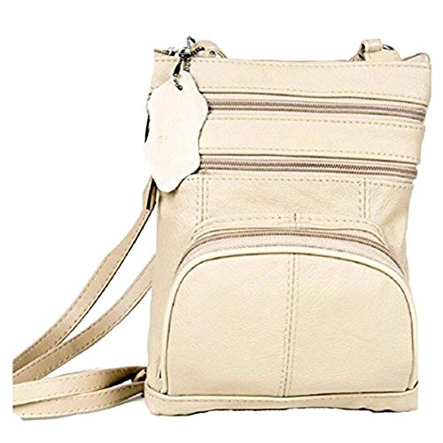 Roma Leathers Genuine Leather Multi-Pocket Crossbody Purse Bag (Beige) Black Across Body Bag