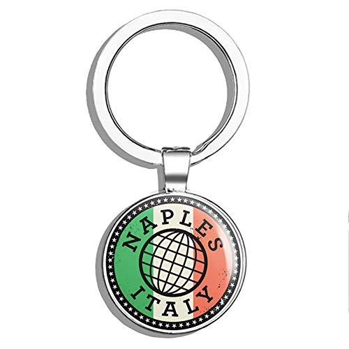 (Glover Trading Naples Italy Italia Round Steel Metal Key Chain Keychain Ring Double Sided Deisgn)
