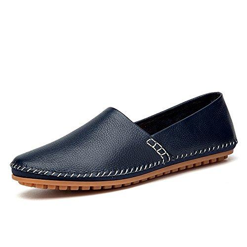 Bleu 43 EU MXLTiandao Pure Couleur Hommes's Slip on Mocassins Cuir PU Noble Facile Mode Conduite Bateau Mocassins Chaussures Occasionnelles Mocassins (Couleur   Bleu, Taille   43 EU)