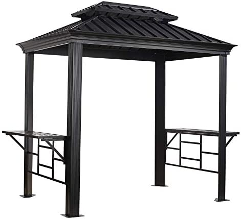 Sojag Outdoor 6 x 8 Messina Grill Steel Hardtop Gazebo with Shelving, Dark Grey