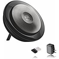 Jabra Speak 710 Speakerphone (Wireless) Bundle w/Wall Charger | Bluetooth Dongle, USB | PC/MAC Compatible with UC Softphones, Smartphones, iPad, Tablets | UC Version - Skype, Cisco, Avaya #7710-409-B