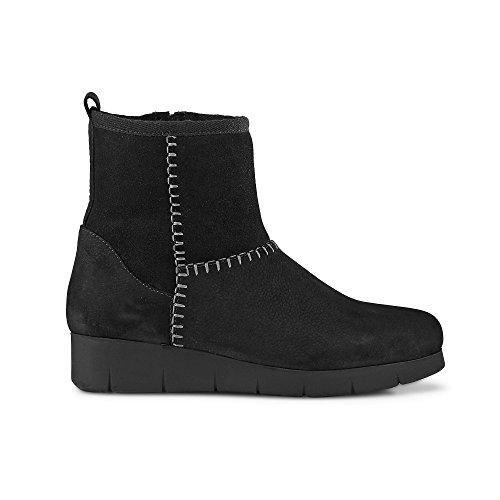 DRIEVHOLT Damen Winter Boots Aus Leder, Schwarze Schlupfstiefel mit Lammfell Futter Schwarz