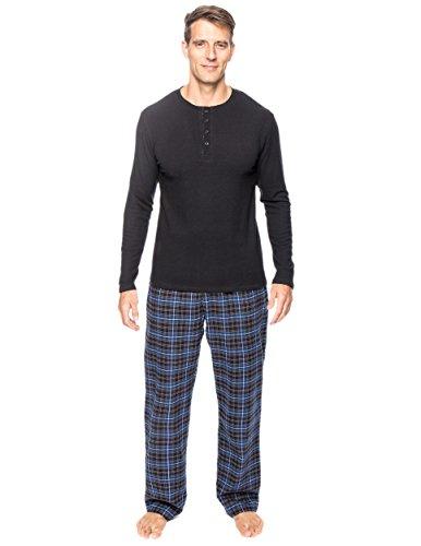 - Noble Mount Men's Premium Flannel Thermal Lounge Set - Plaid Navy/Black - 3XL
