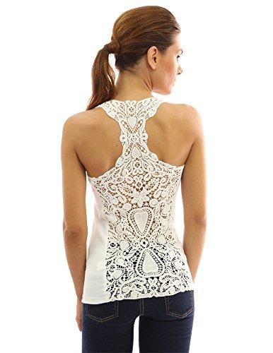 - PattyBoutik Women Crochet Lace Racerback Tank Top (Ivory Small)