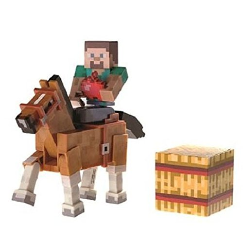Minecraft Steve and Chestnut Horse Action Figures