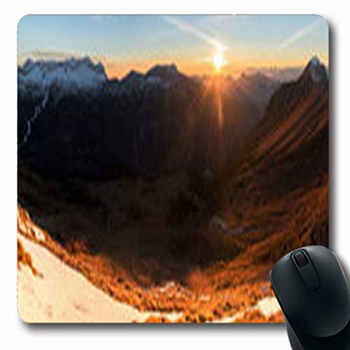 Pandarllin Mousepads Jof Sunset Mountains Above Pecol Meadow Highup Italy Nature Alpi Parks Outdoor Brown Oblong Shape 7.9 x 9.5 Inches Oblong Gaming Mouse Pad Non-Slip Rubber Mat