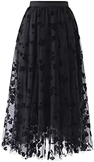VBNG Women's Floral Print 2 Layered A Line Mesh Tulle Midi Party S