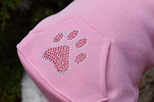 (Personalized DOG HOODIE with CUSTOM Rhinestone Paw Print AND NAME OPTION in 3 Colors with Leash Hole and Kangaroo Pocket)