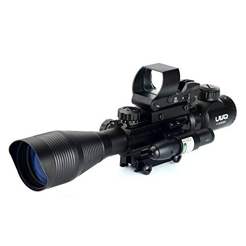 UUQ C4-12X50 Rifle Scope Dual Illuminated Reticle W/Green(RED) Laser Sight and 4 Tactical Holographic Dot Reflex Sight (12 Month Warranty) from UUQ