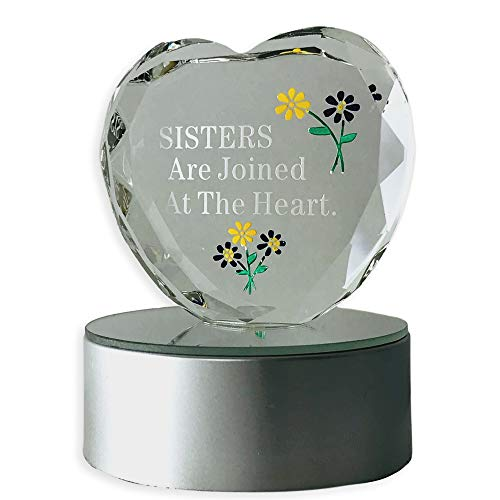 ter Heart - Lighted Heart on Black LED Base - Sisters Are Joined At the Heart Etched Into the Glass - Gifts for Sisters - Sister Gifts - Heart Paperweight ()