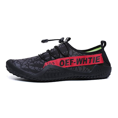 Quick Beach Swim Water Non Outdoor Water Slip Red Drainage FEETICITY with Mens Shoes Black Holes Sneakers Dry vzFtw
