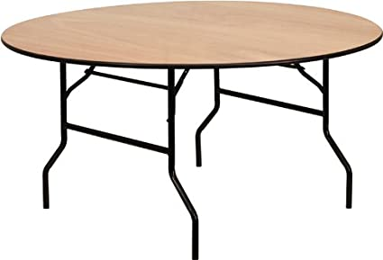 Bon Flash Furniture 60u0027u0027 Round Wood Folding Banquet Table With Clear Coated  Finished Top