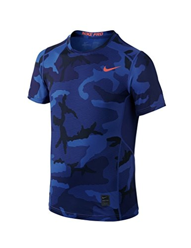 Nike Kids Pro Hypercool Allover Print Shirt Deep Royal Blue Size:Large
