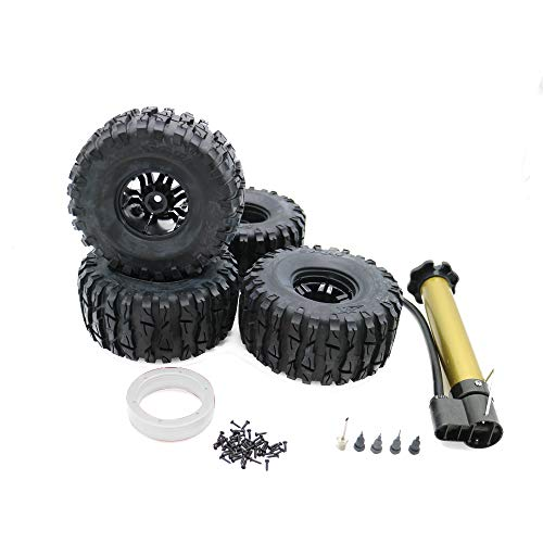 (RCAWD Air-Filled Inflatable Inflated 2.2 Bead Lock Wheel Tire Dragon Claw Tread for 1:10 Rock Crawler Monster Truck 4Pcs(Silver))
