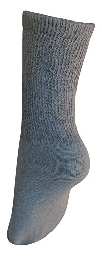 Diabetic Womens Crew Socks (3 Pack) 9-11, Gray, Made in the USA