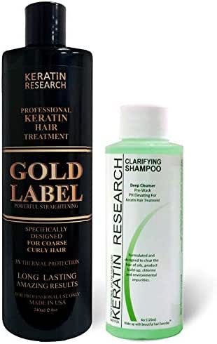 Gold Label Professional Keratin Blowout Treatment 240 Milliliter with Clarifying Shampoo Specifically Designed for Coarse Curly Black, African, Dominican and Brazilian Hair types Super Enhanced Formula