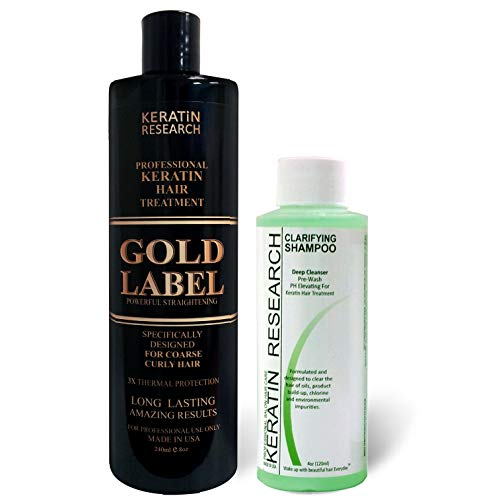 - Gold Label Professional Keratin Blowout Treatment 240 Milliliter with Clarifying Shampoo Specifically Designed for Coarse Curly Black, African, Dominican and Brazilian Hair types Super Enhanced Formula
