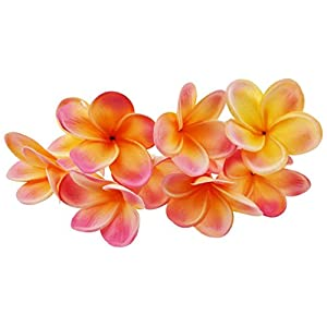 Winterworm Bunch of 10 PU Real Touch Lifelike Artificial Plumeria Frangipani Flower Bouquets Wedding Home Party Decoration (Orange+Pink)